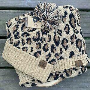 CC leopard scarf and beanie set